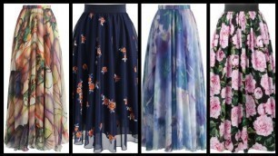 'floral-printed net fabric Long maxi skirts - easy to stitch maxi skirts ideas - skirts style 2k20'