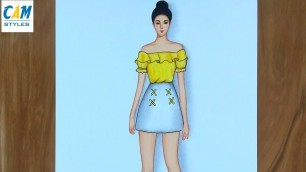 'Ulzzang summer outfits / How to draw a girl in a dress easy step by step'
