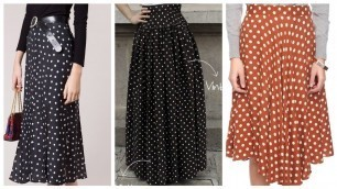 'Most beautiful trending Retro style dot pattern printed skirts designs ideas for women 2021'